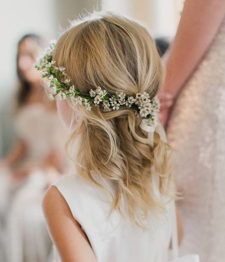 35 Cute & Fancy Flower Girl Hairstyles For Every Wedding For Curled Floral Prom Updos (View 11 of 25)