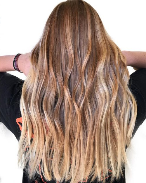 36 Light Brown Hair Colors That Are Blowing Up In 2019 For Curly Golden Brown Balayage Long Hairstyles (View 17 of 25)