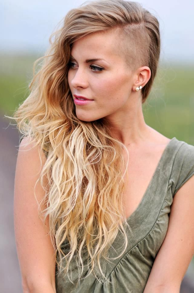 36 Sexy And Hot Half Shaved Hairstyles | Bathroom | Curly Hair With Half Shaved Long Hairstyles (View 4 of 25)