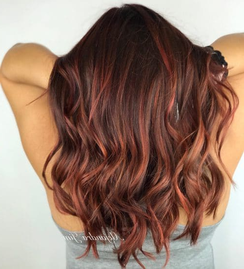 37 Best Red Highlights In 2019 For Brown, Blonde & Black Hair Throughout Long Hairstyles Red Highlights (View 13 of 25)