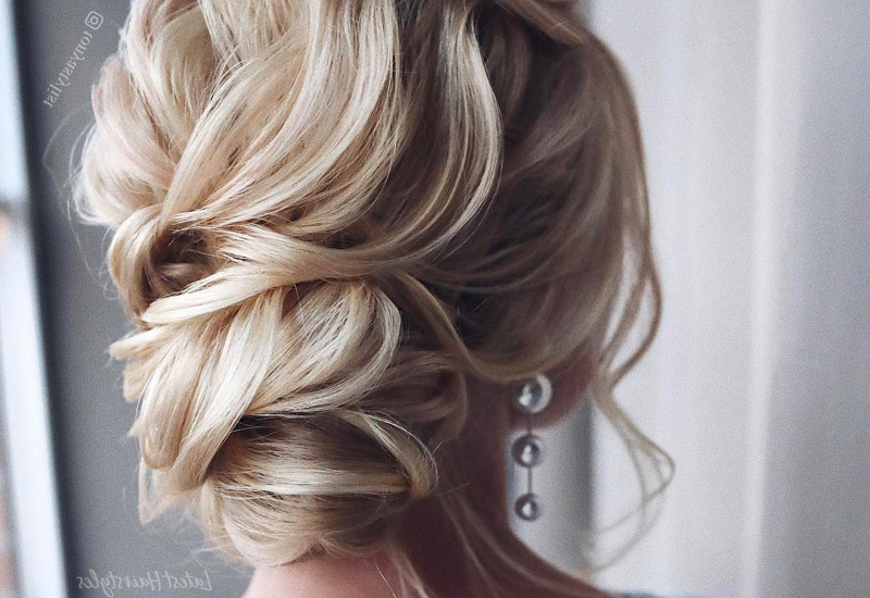 37 Inspiring Prom Updos For Long Hair For 2019 #inspo Regarding Bun And Three Side Braids Prom Updos (View 16 of 25)