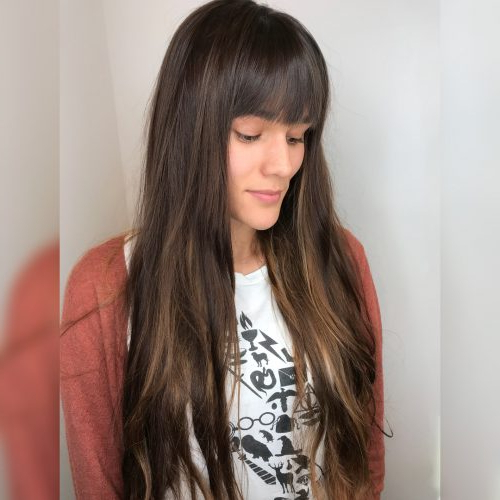 38 Flattering Long Hair With Bangs Trending In 2019 Intended For Long Hairstyles With Straight Bangs (View 4 of 25)