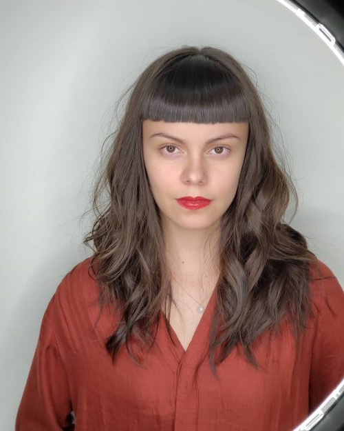 38 Flattering Long Hair With Bangs Trending In 2019 Throughout Long Hairstyles With Full Fringe (View 20 of 25)