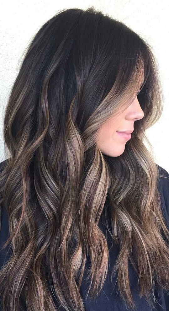 38 Top Balayage Dark Brown Hair Balayage Hair Color Ideas With Regard To Long Thick Black Hairstyles With Light Brown Balayage (View 4 of 25)