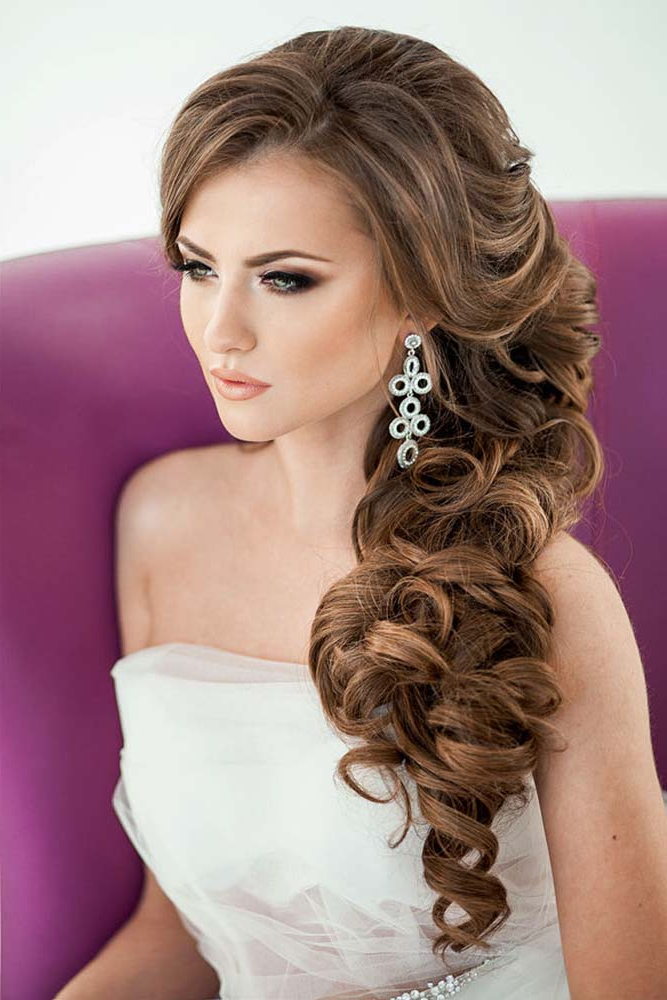 40 Best Wedding Hairstyles For Long Hair 2018 19 – My Stylish Zoo Pertaining To Long Hairstyles To One Side (View 21 of 25)