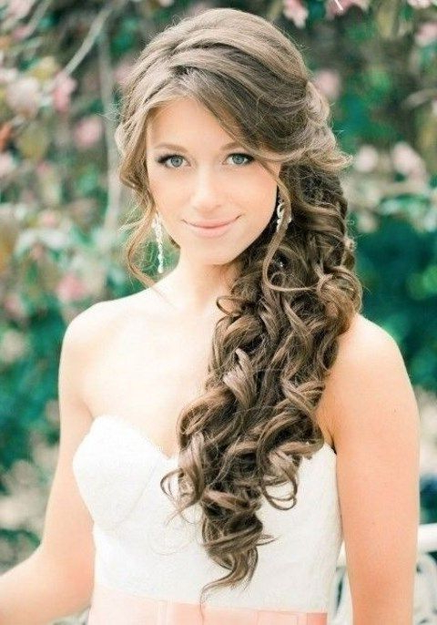 40 Gorgeous Side Swept Wedding Hairstyles | Wedding | Wedding Inside Side Swept Brunette Waves Hairstyles For Prom (View 5 of 25)