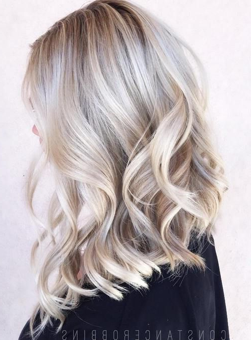 40 Hair ?olor Ideas With White And Platinum Blonde Hair | Hair Intended For Loose Layers Hairstyles With Silver Highlights (View 2 of 25)