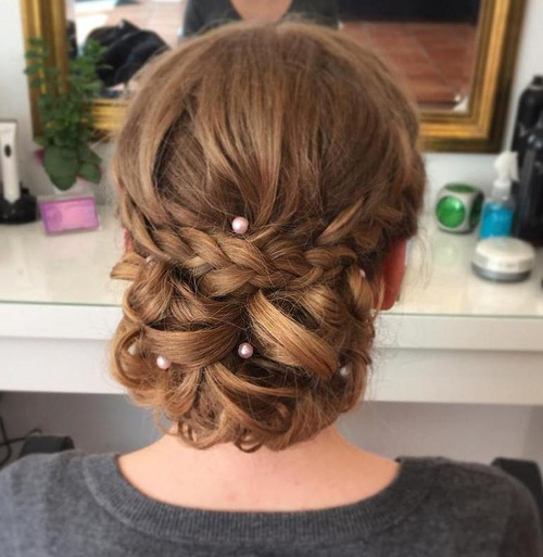 40 Most Delightful Prom Updos For Long Hair In 2019 For Braid And Fluffy Bun Prom Hairstyles (View 4 of 25)
