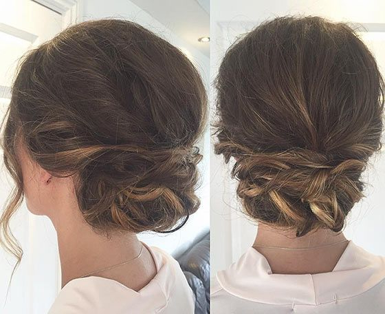 40 Quick And Easy Updos For Medium Hair | Hair | Hairstyles For With Twisted Low Bun Hairstyles For Prom (View 3 of 25)