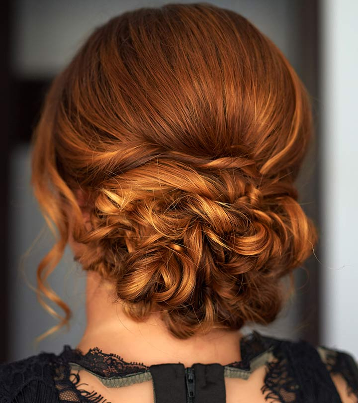 40 Quick And Easy Updos For Medium Hair Inside Twisted And Curled Low Prom Updos (View 21 of 25)