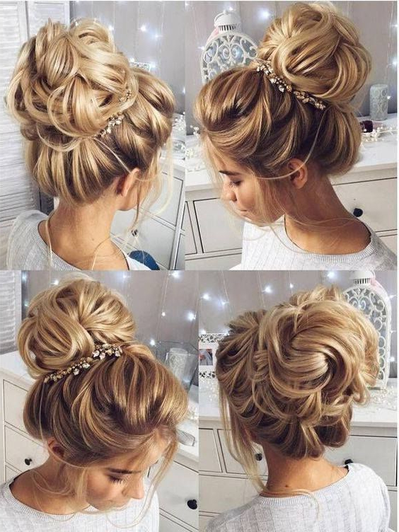 43 Choicest Wedding Hairstyles For Long Hair That Make The Bride For Messy High Bun Prom Updos (View 24 of 25)