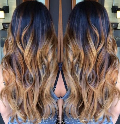 45 Balayage Hair Color Ideas 2019 – Blonde, Brown, Caramel, Red Intended For Curly Golden Brown Balayage Long Hairstyles (View 8 of 25)