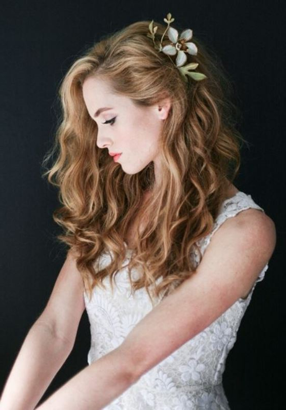 45 Charming Bride's Wedding Hairstyles For Naturally Curly Hair Throughout Curly Hairstyles For Weddings Long Hair (View 8 of 25)