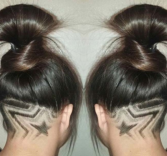 45 Undercut Hairstyles With Hair Tattoos For Women | Fashionisers© Regarding Long Hairstyles Shaved Underneath (View 6 of 25)