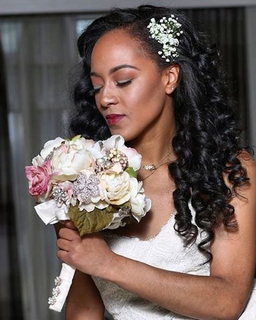 47 Wedding Hairstyles For Black Women To Drool Over 2018 Intended For Curly Hairstyles For Weddings Long Hair (View 17 of 25)