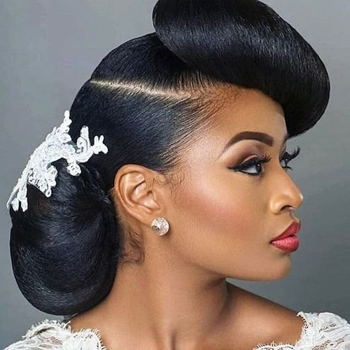 47 Wedding Hairstyles For Black Women To Drool Over 2018 Throughout Side Bun Prom Hairstyles With Black Feathers (View 15 of 25)