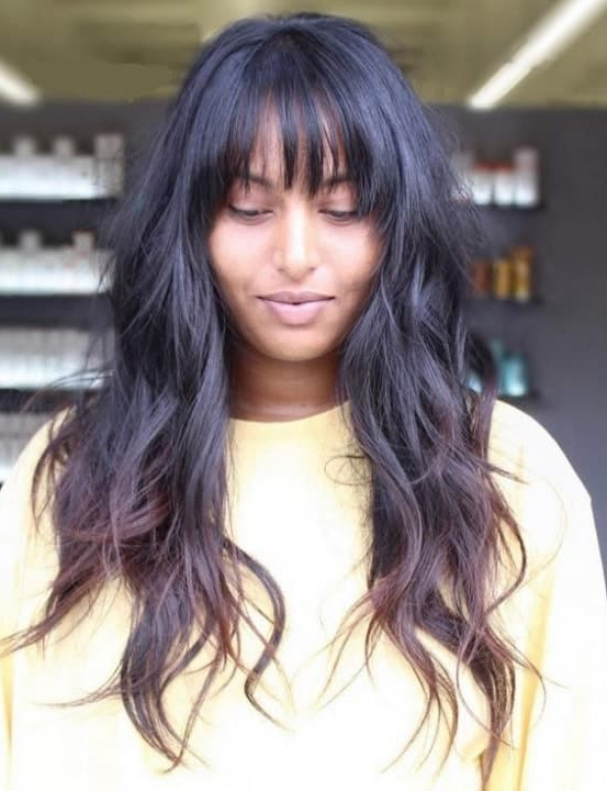 5 Hottest Black Long Hairstyles With Bangs And Layers – Sheideas Regarding Long Hairstyles With Full Fringe (View 11 of 25)