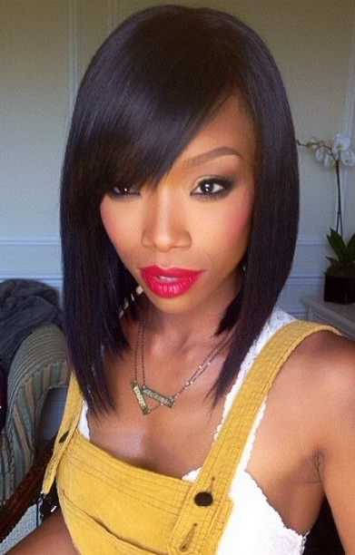 50 Bob Hairstyles For Black Women | Hairstyles Update Regarding Long Hairstyles With Bangs For Black Women (View 17 of 25)