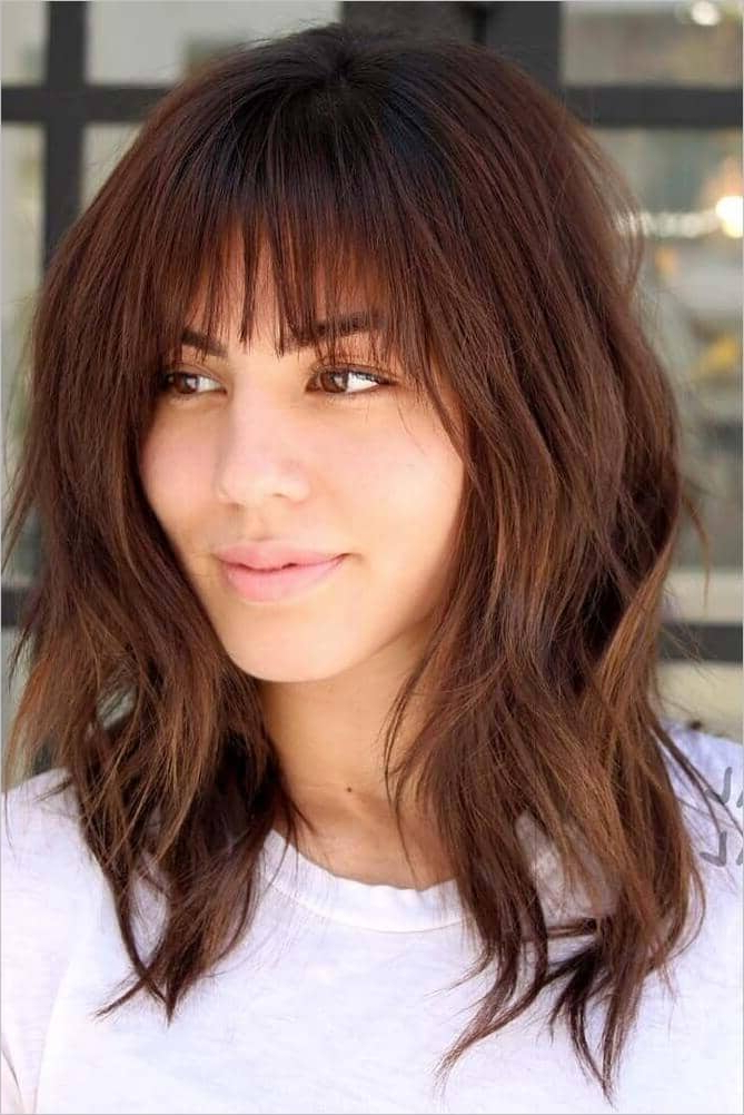 50 Breezy Hairstyles With Bangs To Make You Shine In 2019 For Long Layered Waves And Cute Bangs Hairstyles (View 6 of 25)
