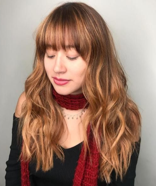 50 Cute And Effortless Long Layered Haircuts With Bangs In 2019 Inside Long Layered Waves And Cute Bangs Hairstyles (View 3 of 25)
