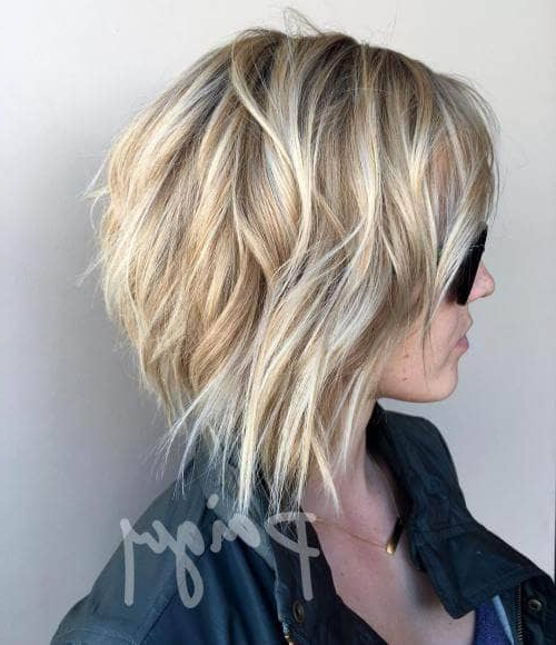 50 Fresh Short Blonde Hair Ideas To Update Your Style In 2019 With Blonde Textured Haircuts With Angled Layers (View 4 of 25)