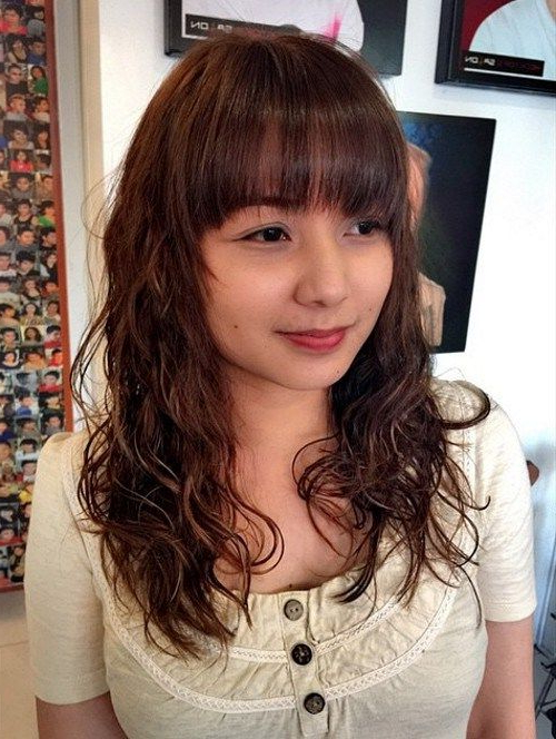 50 Gorgeous Perms Looks: Say Hello To Your Future Curls!   Hair Cut In Long Permed Hair With Bangs (View 2 of 25)