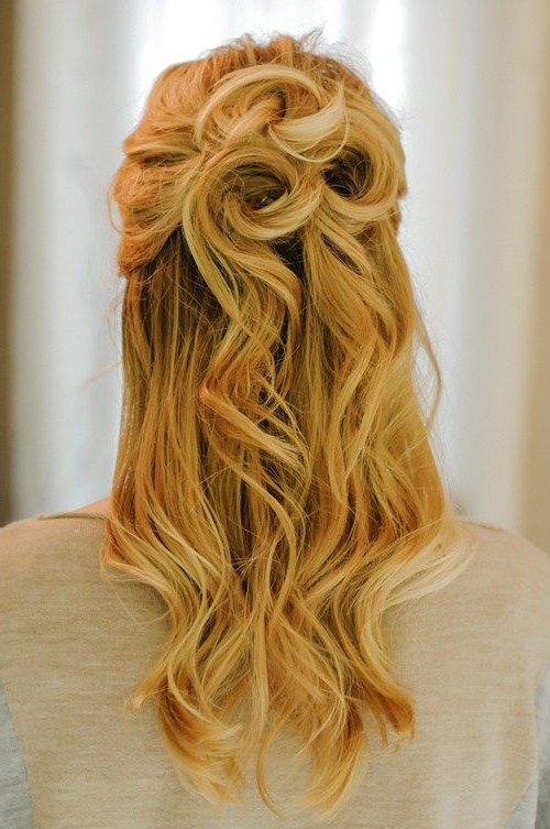 50 Half Updos For Your Perfect Everyday And Party Looks In 2019 With Regard To Rosette Curls Prom Hairstyles (View 3 of 25)