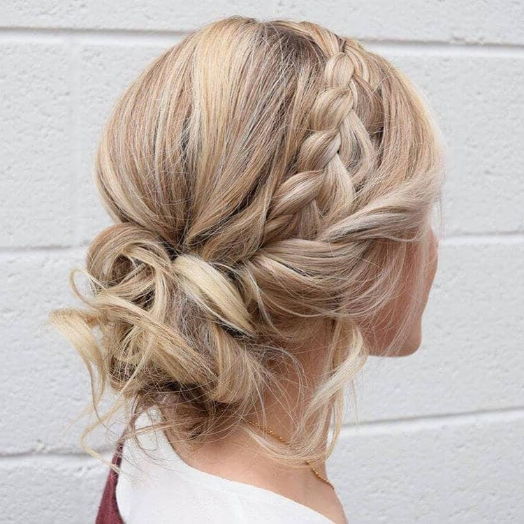 50 Inspiring Ideas For French Braids That Stand Out In 2019 Within Diagonal Braid And Loose Bun Hairstyles For Prom (View 23 of 25)
