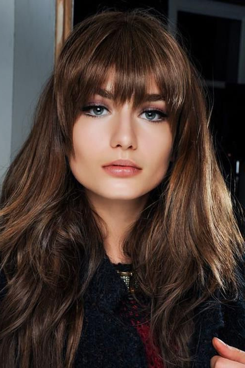 50 Layered Hairstyles With Bangs | Bangs | Hair, Layered Hair With Intended For Long Hairstyles Round Face No Bangs (View 7 of 25)