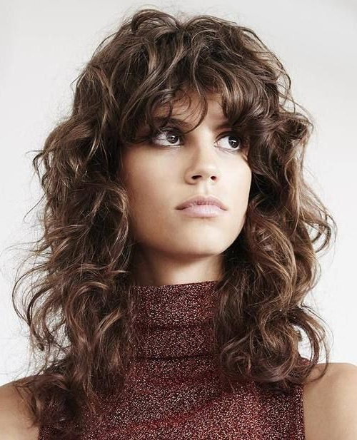 50 Lovely Long Shag Haircuts For Effortless Stylish Looks | Hair Throughout Curly Long Hairstyles With Bangs (View 13 of 25)