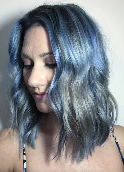 50 Magically Blue Denim Hair Colors You Will Love | Fashionisers© Intended For Loose Layers Hairstyles With Silver Highlights (View 22 of 25)