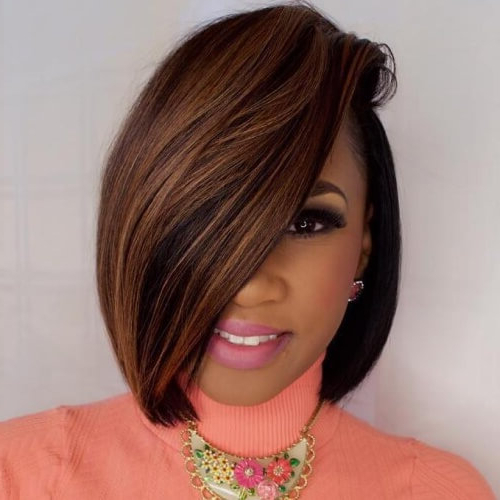 50 Sensational Bob Hairstyles For Black Women | Hair Motive Hair Motive Inside Long Bob Hairstyles With Bangs Weave (View 10 of 25)