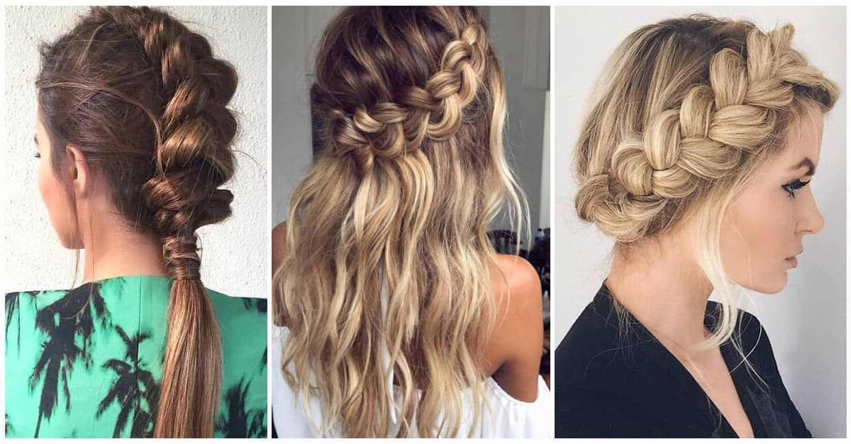 50 Trendy Dutch Braids Hairstyle Ideas To Keep You Cool In 2019 Throughout Braided And Twisted Off Center Prom Updos (View 2 of 25)