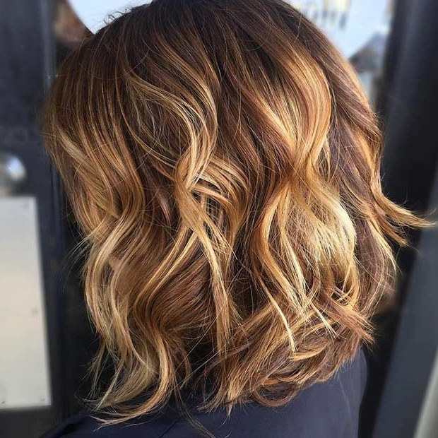 51 Gorgeous Long Bob Hairstyles | Hair Inspiration | Curly Hair With Curly Golden Brown Balayage Long Hairstyles (View 9 of 25)