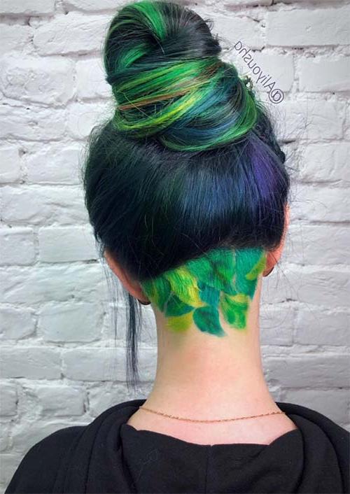 51 Long Undercut Hairstyles For Women In 2019: Diy Undercut Hair Throughout Long Hairstyles Dyed (View 9 of 25)