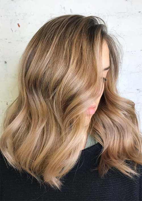 51 Medium Hairstyles & Shoulder Length Haircuts For Women In 2019 Regarding Light Layers Hairstyles Enhanced By Color (View 23 of 25)