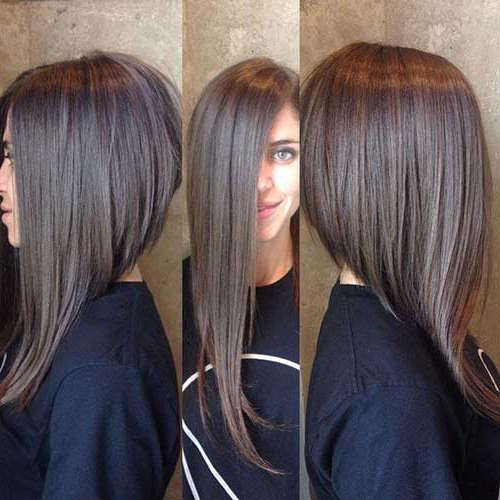 55 Best Long Angled Bob Hairstyles We Love – Hairstylecamp Throughout Hairstyles Long In Front Short In Back (View 6 of 25)