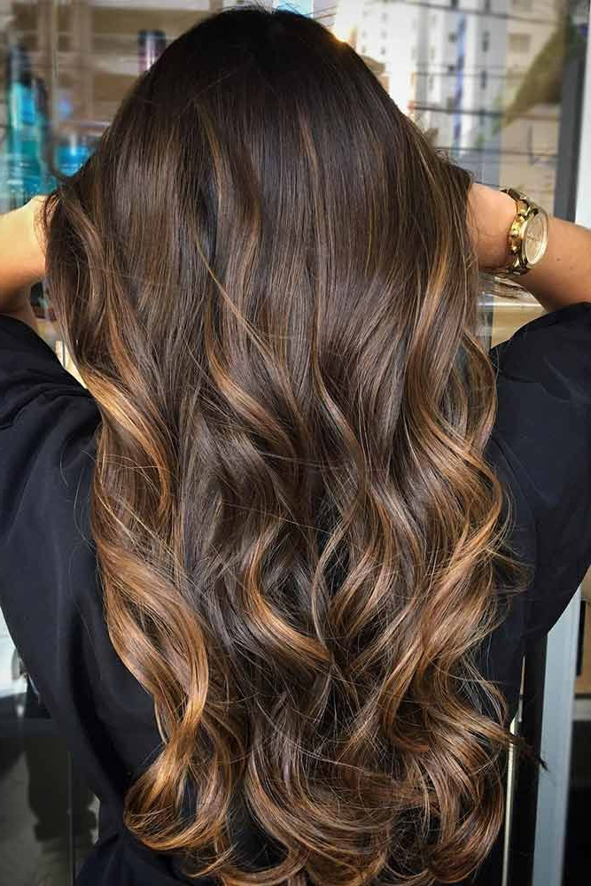 55 Highlighted Hair For Brunettes | Balayage | Hair, Balayage Hair In Warm Toned Brown Hairstyles With Caramel Balayage (View 2 of 25)