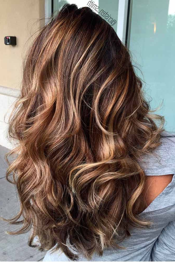 55 Highlighted Hair For Brunettes | Caramel Highlights | Hair Styles In Highlighted Long Hairstyles (View 3 of 25)