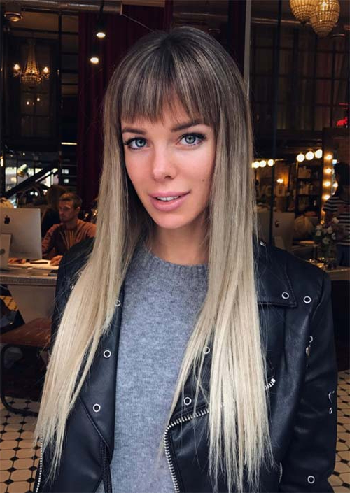 55 Long Haircuts With Bangs For 2019: Tips For Wearing Fringe In Long Hairstyles With Straight Bangs (View 2 of 25)