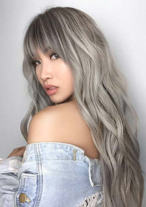 55 Long Haircuts With Bangs For 2019: Tips For Wearing Fringe Pertaining To Long Hairstyles For Grey Haired Woman (View 17 of 25)