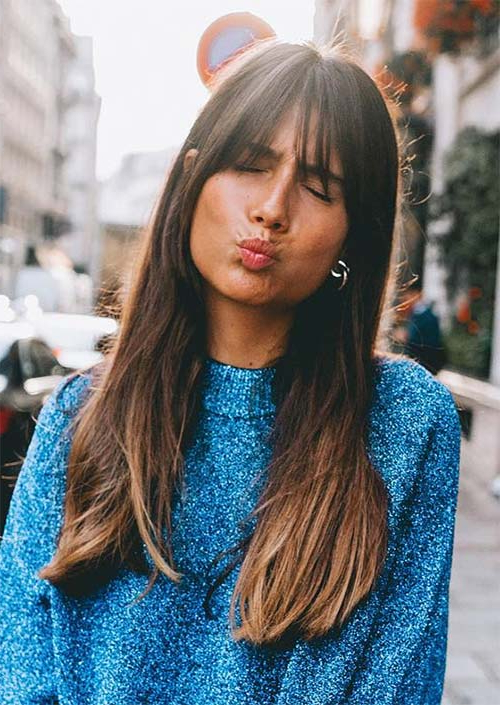 55 Long Haircuts With Bangs For 2019: Tips For Wearing Fringe Throughout Bangs Long Hairstyles (View 10 of 25)