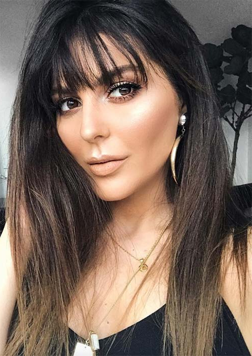 55 Long Haircuts With Bangs For 2019: Tips For Wearing Fringe Throughout Long Hairstyles Dark Hair (View 18 of 25)