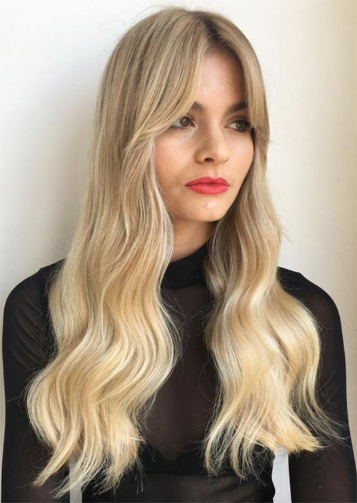 55 Long Haircuts With Bangs For 2019: Tips For Wearing Fringe Throughout Long Hairstyles Parted In The Middle (View 22 of 25)