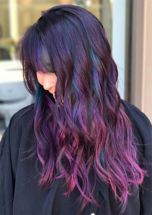 55 Long Haircuts With Bangs For 2019: Tips For Wearing Fringe Throughout Purple Long Hairstyles (View 15 of 25)