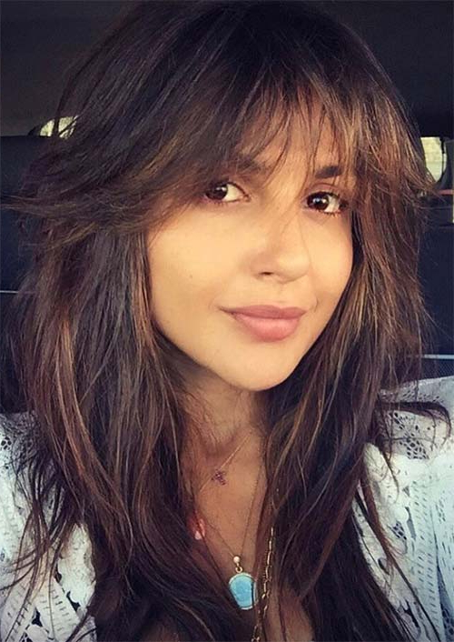 55 Long Haircuts With Bangs For 2019: Tips For Wearing Fringe With Regard To Black Long Hairstyles With Bangs And Layers (View 8 of 25)