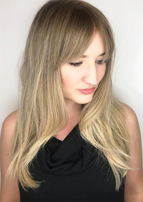 55 Long Haircuts With Bangs For 2019: Tips For Wearing Fringe Within Long Hairstyles Growing Out Bangs (View 16 of 25)