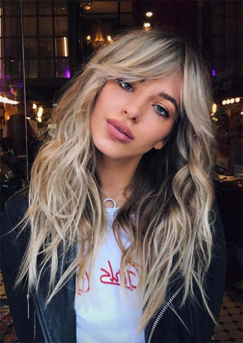 55 Long Haircuts With Bangs For 2019: Tips For Wearing Fringe Within Long Hairstyles Side Fringe (View 13 of 25)
