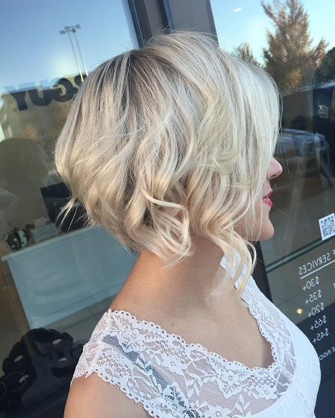6 Best Curly & Wavy Stacked Haircuts For Short Hair 2019 Pertaining To Blonde Textured Haircuts With Angled Layers (View 14 of 25)