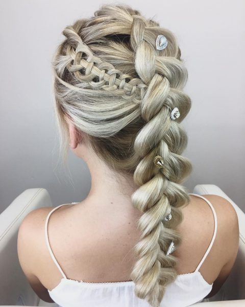 60 Best Braids, Braid Styles, Braided Hairstyles For Women 2019 Pertaining To Jewelled Basket Weave Prom Updos (View 14 of 25)